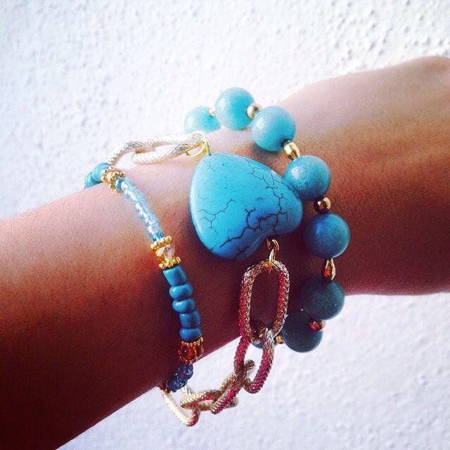 Set Brazalets turquoise! #brazaletes #bisuteria #me