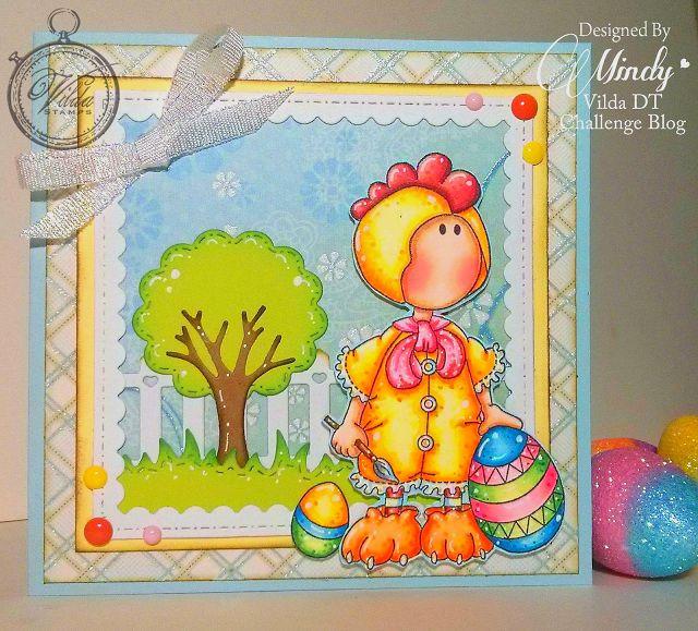 Mindy Beverly Art Studio: Vilda Rooster Painting Eggs Card