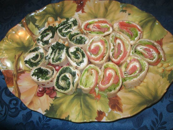 Rolls of Salmon   Rolls of Spinach and Mozzarella