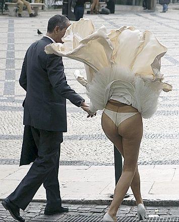 Windy Wedding Upskirt