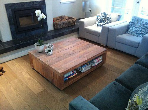 Solid Oregon Pine Cube Coffee Table on Castors