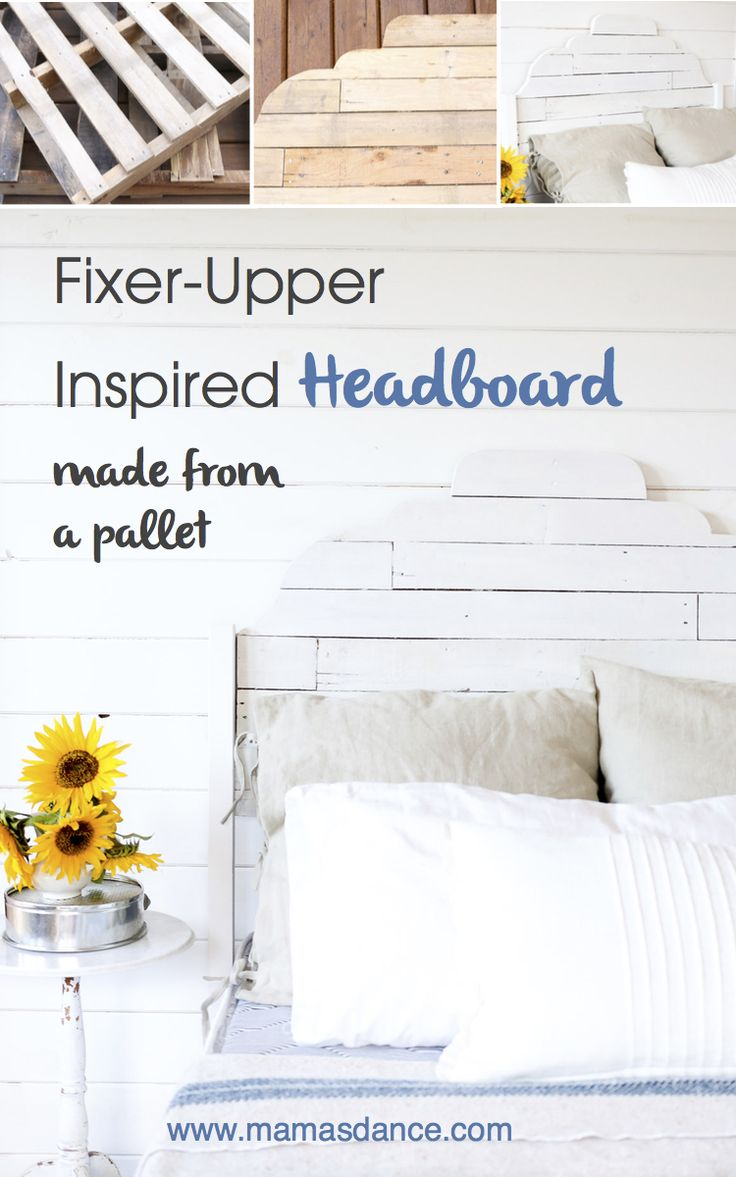 Joanna Gaines inspired Pallet Headboard. This sweet scalloped headboard was inspired by a few of Joanna Gaines' favorite things- shiplap and white paint.