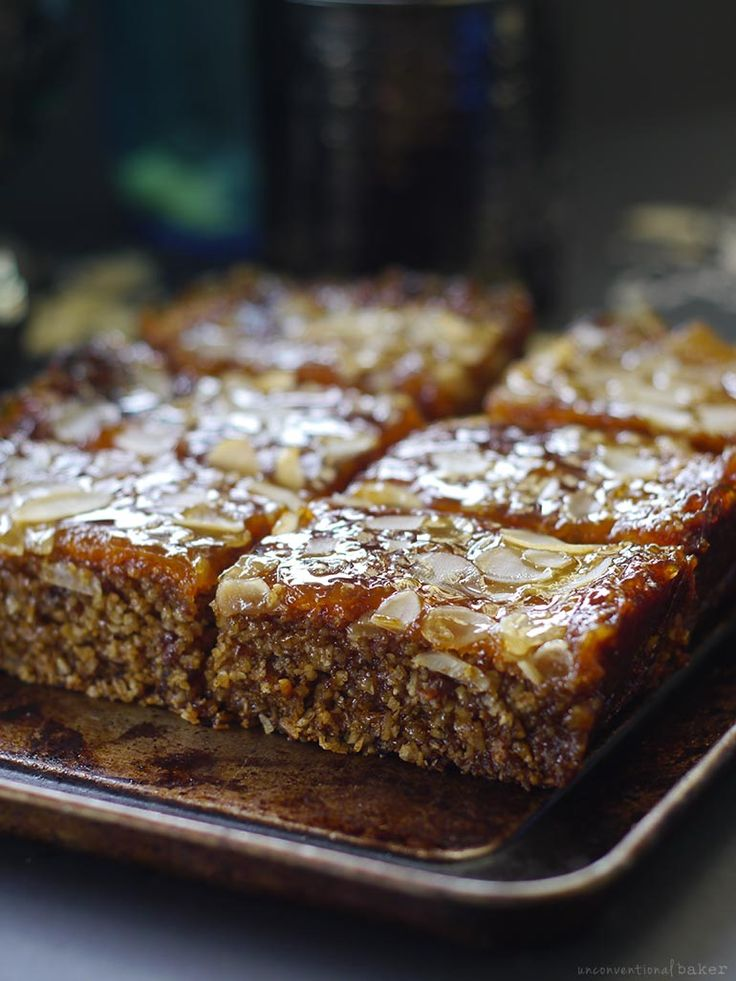 Sticky Apricot Jam Bars (Free From: gluten and grains, refined sugar, dairy, and added oils)