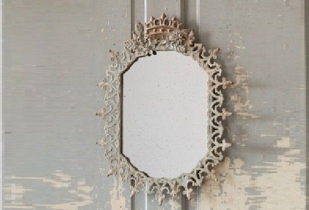 French Filigree Octagon Mirror With Crown On Top