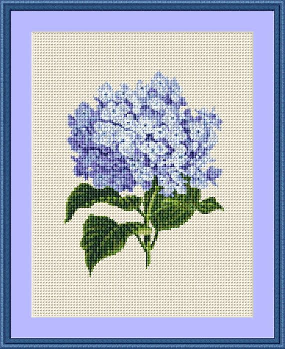 Blue Hydrangea Cross Stitch Pattern, Instant Download Floral Counted Cross…