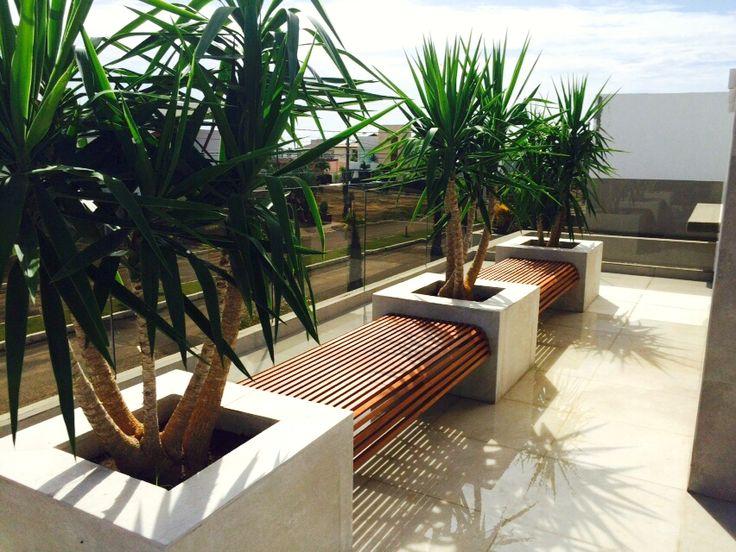 Bancos ripados suspensos instalados entre jardineiras, com desenho da arquiteta Patrícia Lago.