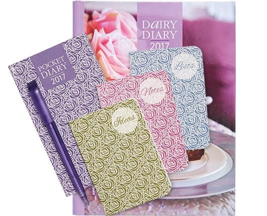 2017 Dairy Diary Set only £9.99 for a diary with recipes, pocket diary, pen and 3 mini notebooks #bargain #getorganised