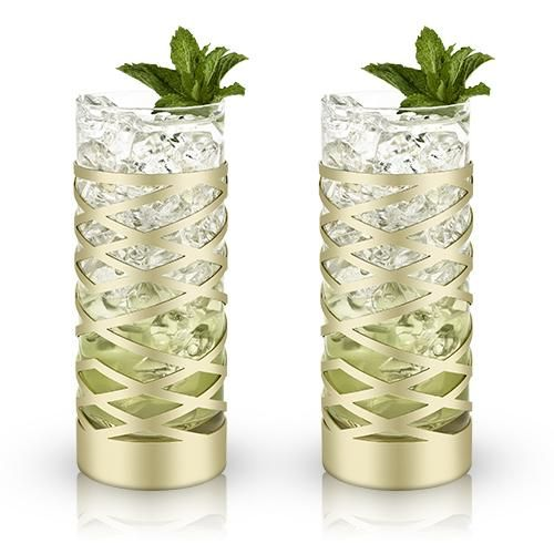 Sheer lead-free crystal is handblown, polished and then sheathed in a lattice of resplendent gold-plated stainless steel to form this duo of durable highball gl