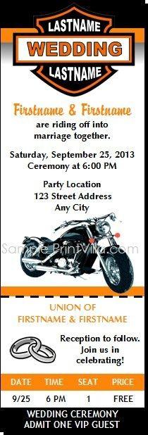 Harley-Davidson Wedding Invitations | Motorcycle Wedding Ticket Invitations from Print Villa...personalized ...