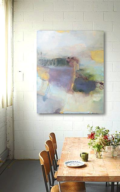 I pinned this because I remember seeing this same room and same view with a woman in a bright dress and a brighter, happier painting on the wall instead of this grey one. I loved it then and like it ok now - its a nice table