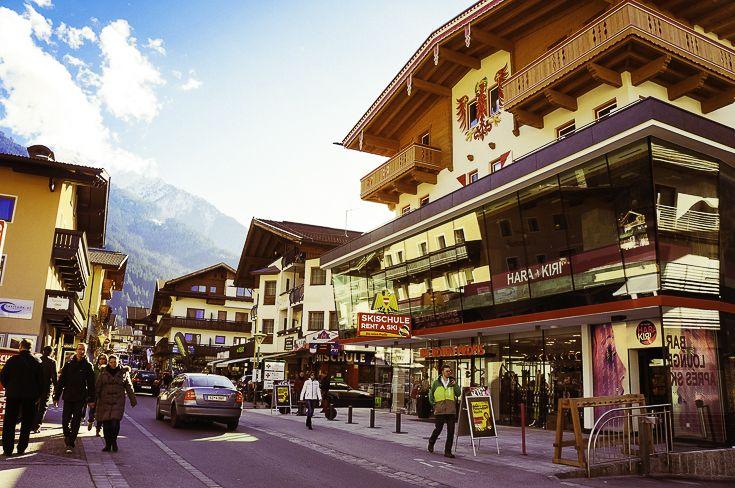 Mayrhofen, Austria, main strip, Kodak punch