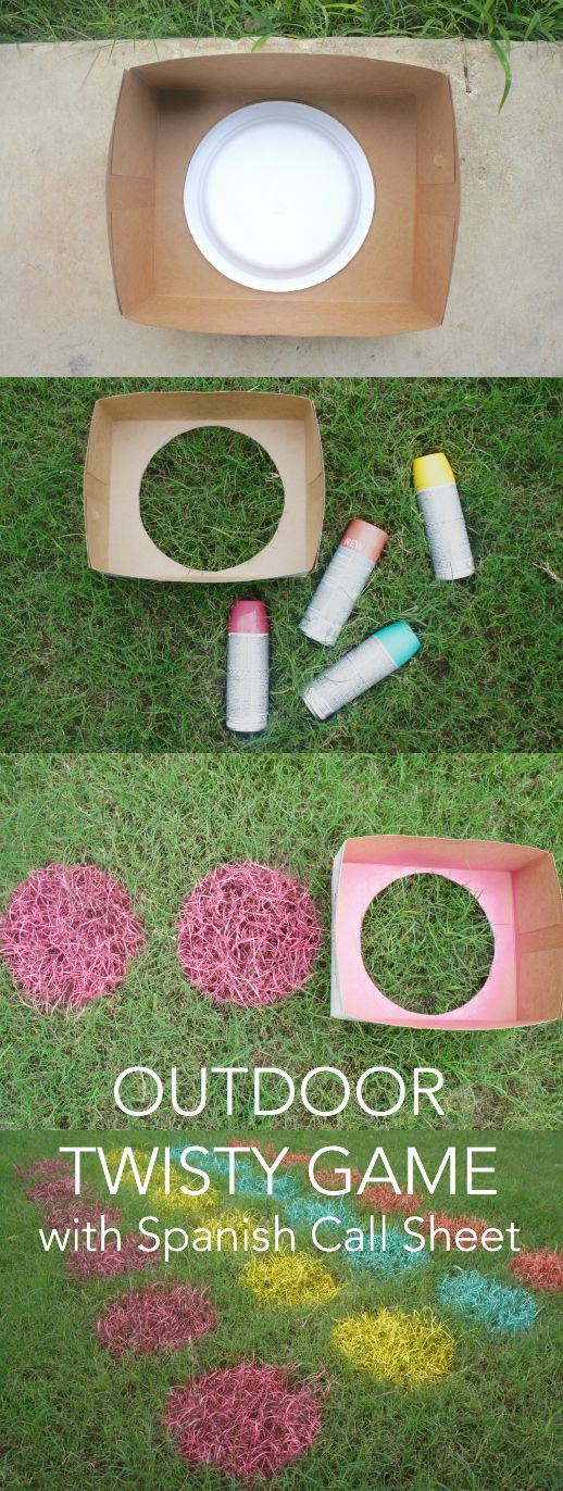 DIY: Create an outdoor twist game with Spanish vocabulary to keep your bilingual kids engaged in the Spanish language during the summer.