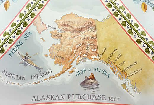 The Alaska purchase during president Andrew Johnson's term.  $7.2 million equates to roughly 2 cents per acre.  Thanks, Russia!