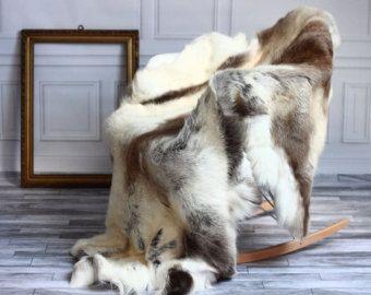 Reindeer Hide Sheepskin rug
