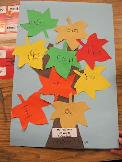 For the Love of Kindergarten: Fall Sight Word Trees i think making a bigger tree @ home and as they know the words hang them om the tree- they can watch the tree fill up with words