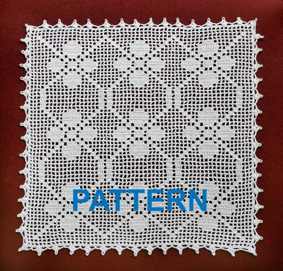 Crochet Pattern Vintage Doilies Digital Doily Square Napkin Tablecloth Crochet Tablecloth Filet Pattern Pdf Instant Download Egst Niatta