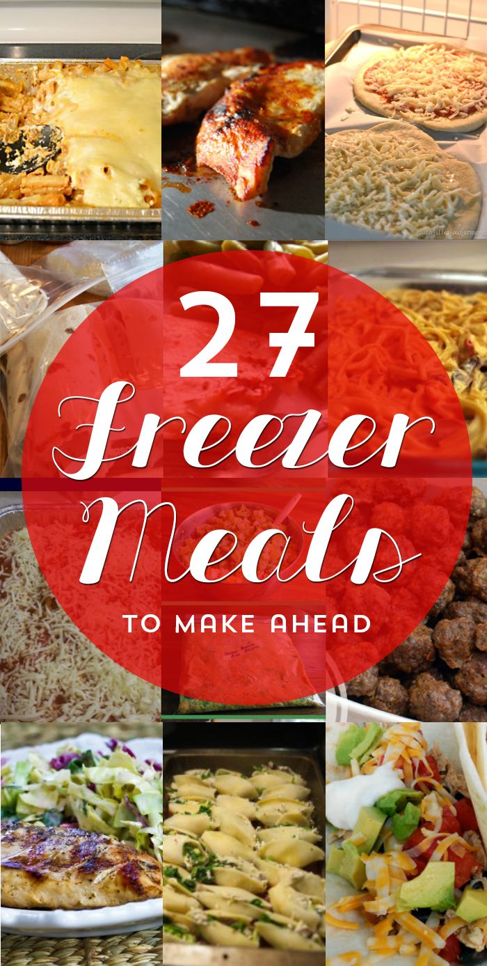 27 Time Saving Freezer Meals by Penney Lane Kitchen. Casseroles, soups, homemade pizzas, and more. Make ahead meals to make your freezer your go to for dinner on busy nights.