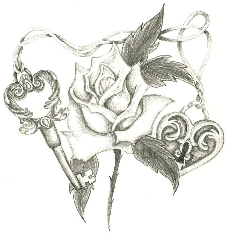 images tattoo designs rose | Rose Tattoo Key Lock - Free Download Tattoo #14852 Traditional Rose ...