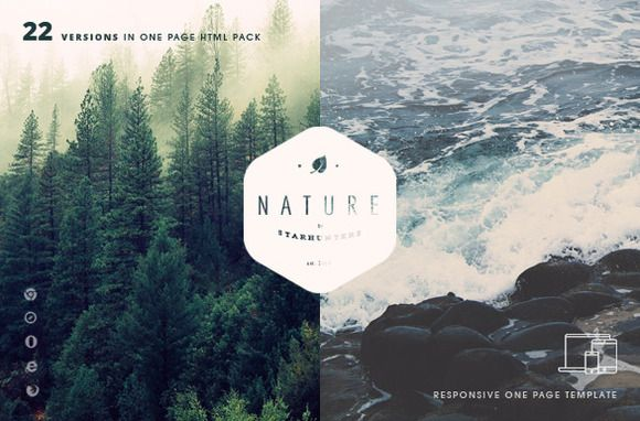 Nature - 22 One Page HTML Template by Mesmeriseme Themes on Creative Market