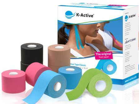 K-Active Tape jest elastyczną, przylepną taśmą składającą się z tkaniny bawełnianej i akrylowej warstwy klejącej, która jest aktywowana przez potarcie po nałożeniu.  W taśmie K-Active Tape stosowany jest mało drażniący klej.  Ze względu na przepuszczalność powietrza i cieczy,  jak też wersję wodoodporną. Dzięki niezwykłemu wzorowi falistemu NITTO DENKO powierzchni klejącej zapewniana jest znakomita przepuszczalność powietrza, co zapobiega powstawianiu powstawaniu podrażnień skóry