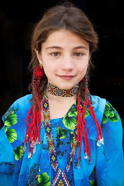A tribal girl from eastern Tajikistan's Pamir Mountains