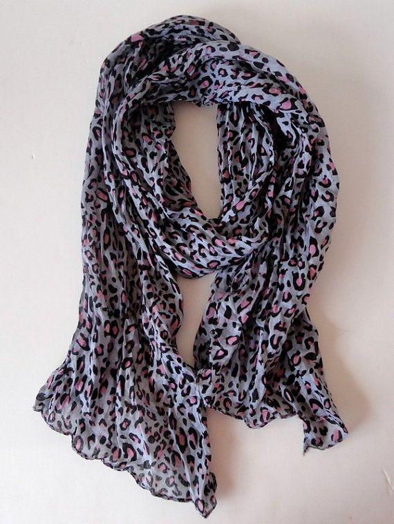 pink leopard scarf shawl scarf  wrinkled fabric by scarvesCHIC, $10.50