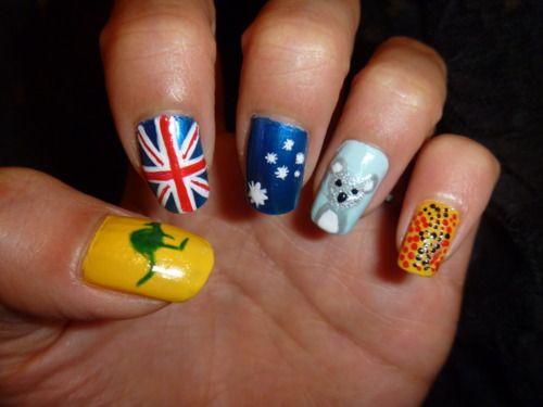 cool australia day nails