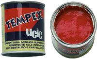 Water-based acrylic superwashable matt colours highly resistant to weathering suitable for restoration works, advertising, trompe-l'oeil, hobby works.  Tempex colours are really opaque, superesistant to atmospheric agents, to light and temperature changes . They are superwashable for inside and outside restoration of ancient artistic buildings, for billboards, advertising posters, indoor or outdoor paintings on plaster, mural paintings, etc..