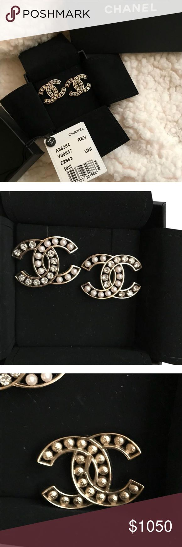 Chanel Earrings😍😍😍 Authentic and beautiful!!!!! Matching earrings in closet as well. Gold toned, white faux pearls and clear stone. Wore twice. Too large for my ears. Comes with box, tag, and velvet protection cover. I'd send receipt but have other purchases on it. Authentic!!! Posh will authenticate. CHANEL Jewelry Earrings
