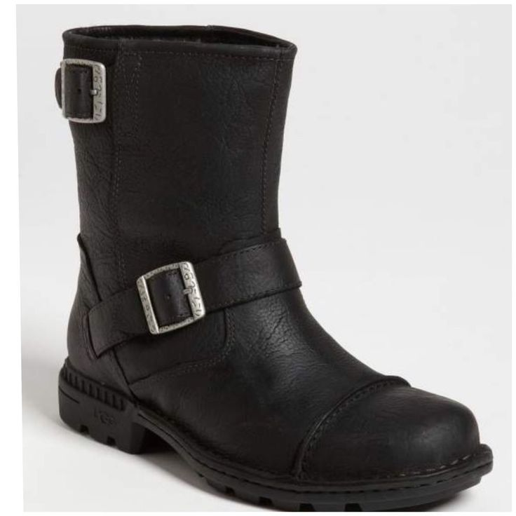 MEN UGG AUSTRALIA ROCKVILLE LEATHER MOTORCYCLE BOOTS - BLACK - SIZE 16 #UGGAustralia #Motorcycle