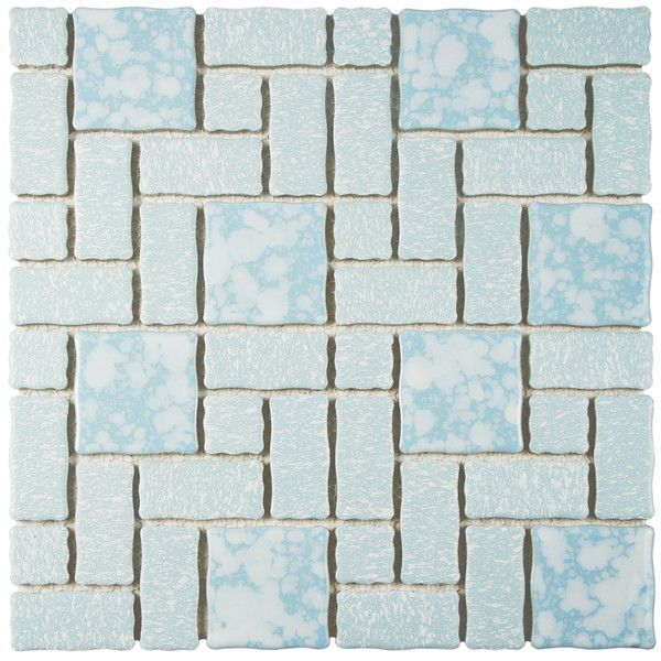 Somertile 11 75x11 75 Inch Collegiate Blue Porcelain Mosaic Floor And Wall Tile 10 Tiles 9 79 Sqft Mosaic Tiles Porcelain Tile Tiles