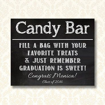 Personalized Graduation Candy Bar Sign Printable by JusPrintables
