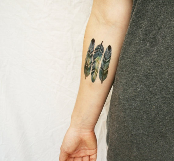 chevron feathers temporary tattoos from watercolour by pepperink, $5.00 These guys have a whole SHOP of custom temporary tattoos, just awesome for someone who wants some real awesome ink without a lifetime commitment