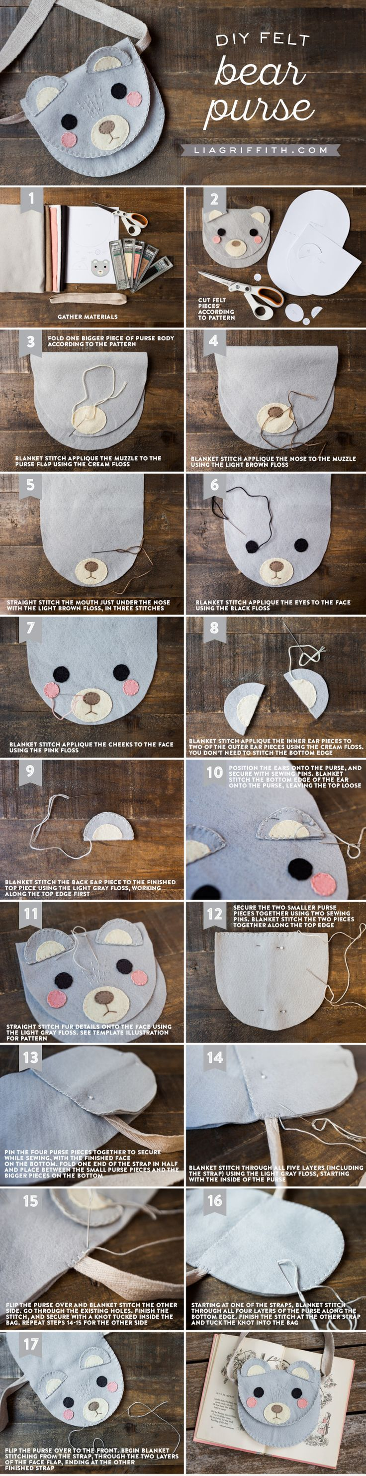 Here's a perfect sewing activity to sit down and do with your kids. Create a play felt bag animal friend for them to wear around the house and to school. Click through to get Lia Griffith's DIY sewing tutorial for this bear felt bag.