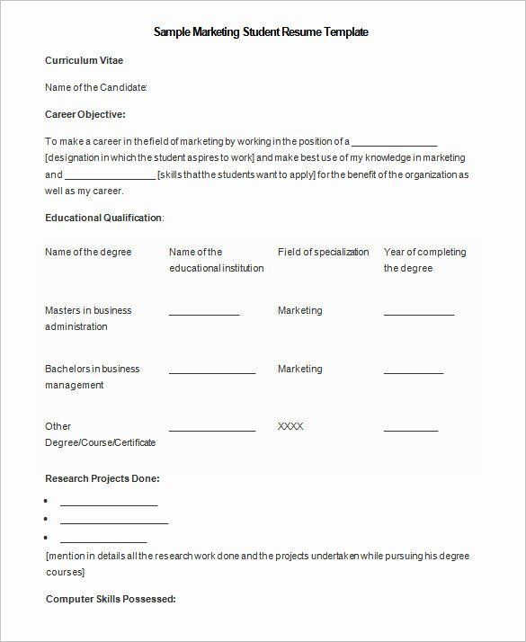 25 Ms Word 2007 Resume Templates In 2020 Student Resume Template