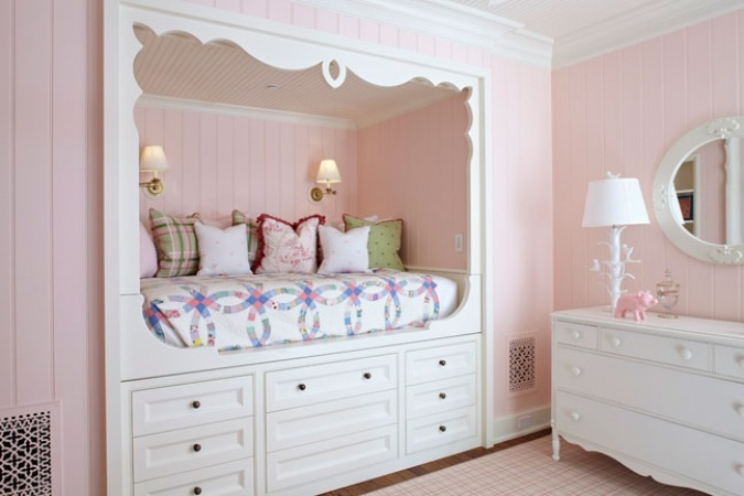 kids room summer house pink wood bed frames bold floral flower bedding. attic. http://cococozy.comKids Beds, Girls Bedrooms, Kids Room, Girls Room, Kids Photos, Beds Storage, Bedrooms Decor Ideas, Bedrooms Ideas, Built In Beds