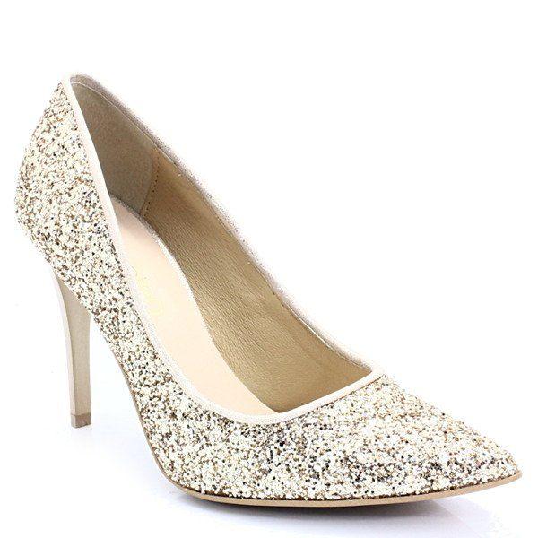 Tymoteo 2499 Zlote Brokatowe Szpilki Buty Damskie Szpilki Pora Roku Damskie Wiosna Pora Roku Damskie Jesien Buty Damskie Shoes Wedding Shoe Heels