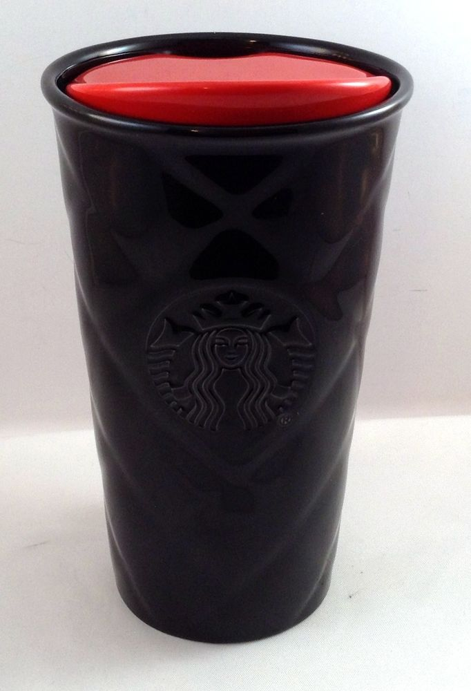 Starbucks Black Quilted Ceramic Traveler Tumbler Coffee