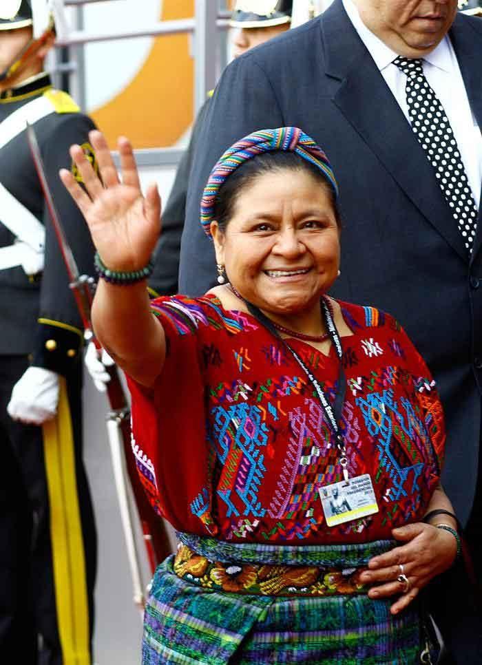 La premio nobel de la Paz guatemalteca, Rigoberta Menchu.