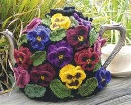 Crochet Tea Cosy of Pansies