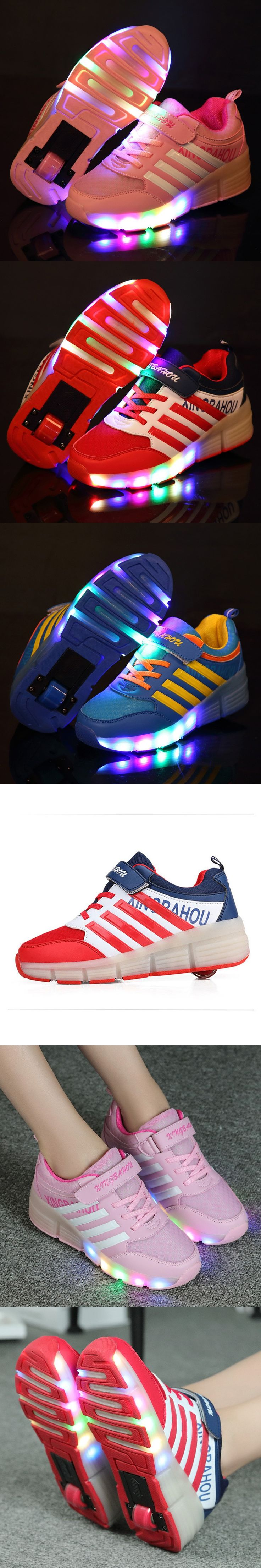 Led Lights Children Sneakers Shoes with Wheels Kids Roller Shoes Boys Girl Sneakers Zapatillas Con Ruedas Pink Black Red $22.49