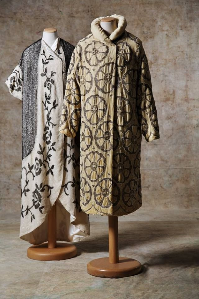 Paul Poiret overcoats  Paul Poiret: the first dress on the left is entirely embroidered with white glass tubules, flowers and shades of grey; right: cream-coloured velvet coat embroidered with grey glass tubule rosettes.