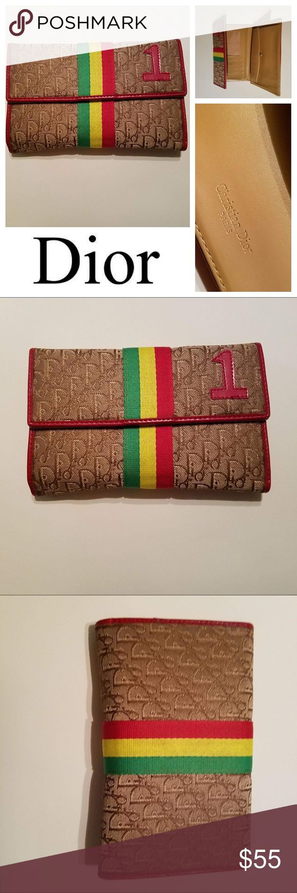 Vintage CHRISTIAN DIOR Rasta Logo Wallet Vintage early 2000s Dior Rasta Wallet. Flap over front, inside snap coin, billfold compartment, multi cc slots. Excellent condition Christian Dior Bags Wallets