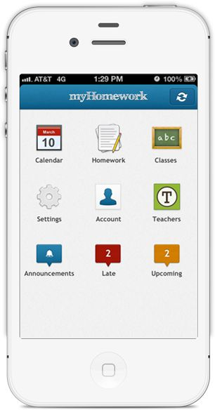 myHomework is a free app that students can use on the web on iPads, on  iPhones, on Android devices, and on Windows 8 devices to keep track of their school schedules and assignment due dates. myHomework syncs students' schedules and assignments across all of the devices that they use.