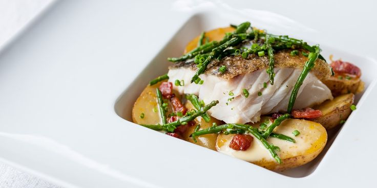 Cod and Jersey Royals make a fine meal in this recipe. Pancetta and samphire add further flavour to this exquisite dish