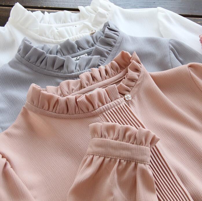 Chiffon Shirt Blouse White/gray/pink Stand Collar