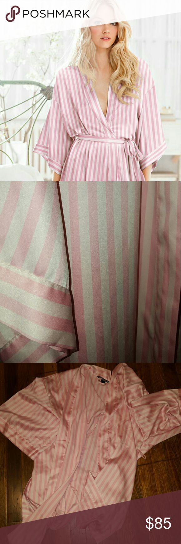 SALE Victoria's Secret striped robe L/M No longer selling striped robes in official website. Iconic pink stripe. Material is polyester. Comes with two pockets. Pre loved item. Selling because I have too many robes. Bought at Victoria's Secret fall 2016.  Only worn a couple of times. Item will be hand washed and steamed , ready to go. Smoke and pet free home. I have many Victoria's Secret items and other nice items in my closet. Make an offer, bundle and save! Free makeup Bag from Sephora…