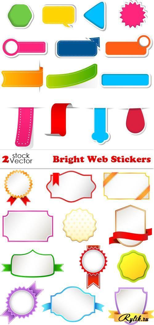 Стикеры, рамки - красочные векторные элементы