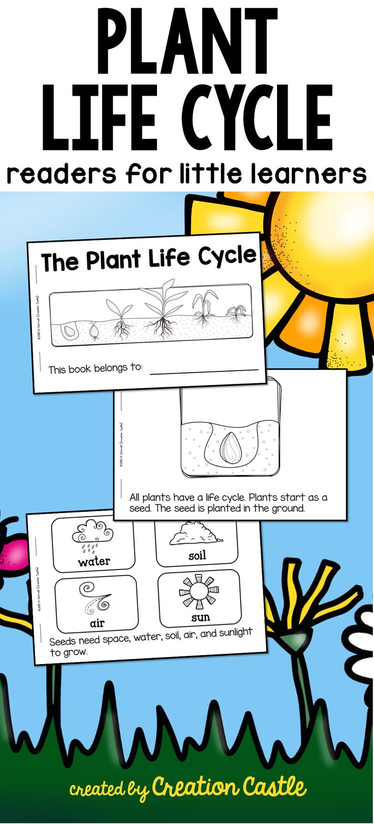 Easy printable reader on the plant life cycle for kindergarten or first grade. Includes plant needs!