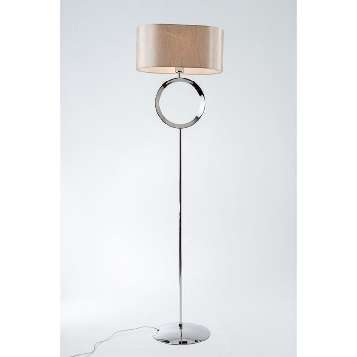The thornton polished chrome floor lamp makes a statement with its single large hoop detail